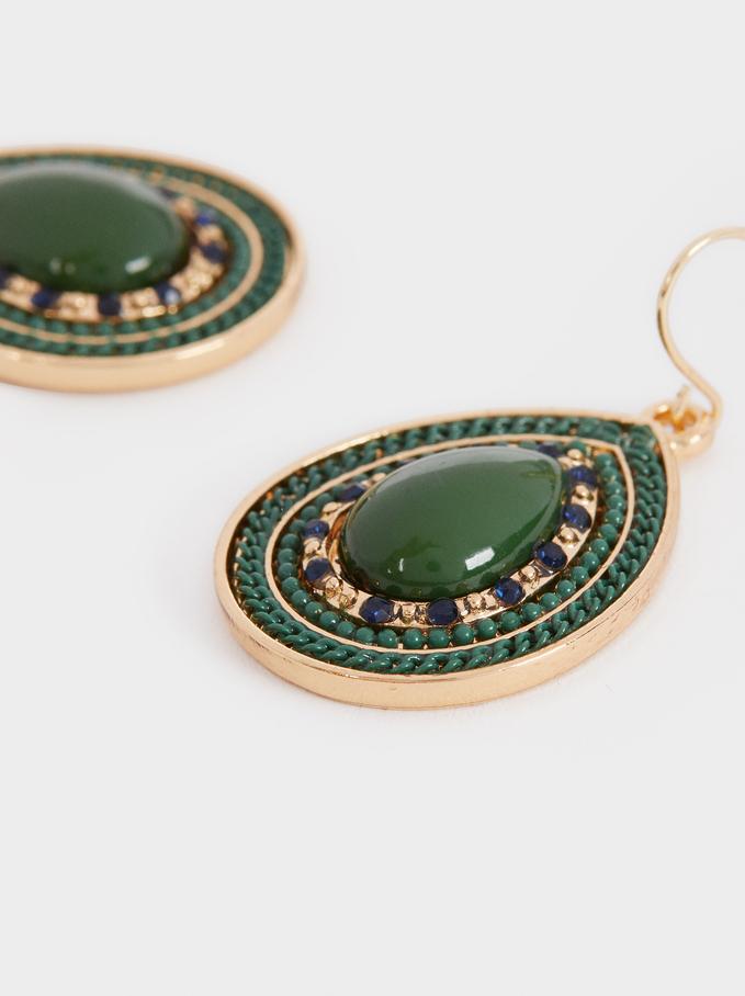 Medium Earrings With Multicoloured Stones, Multicolor, hi-res