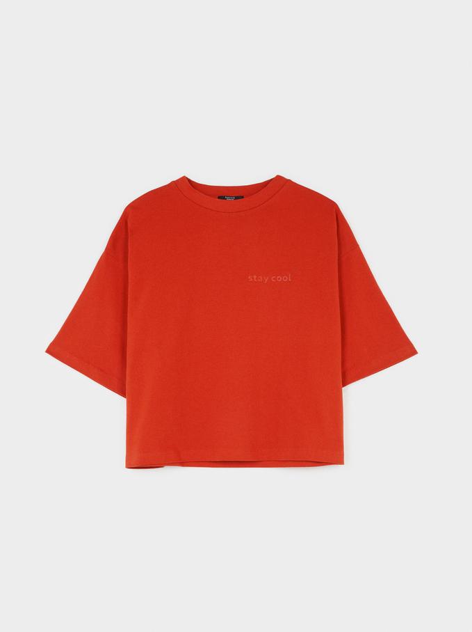 T-Shirt À Col Rond Stay Cool, Orange, hi-res
