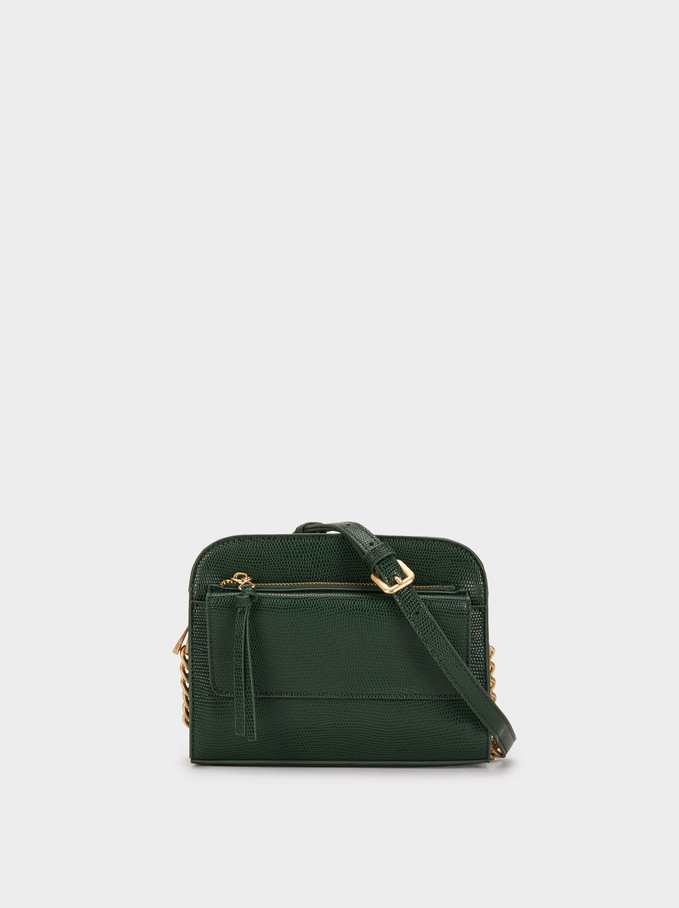 Animal Embossed Shoulder Bag, Green, hi-res