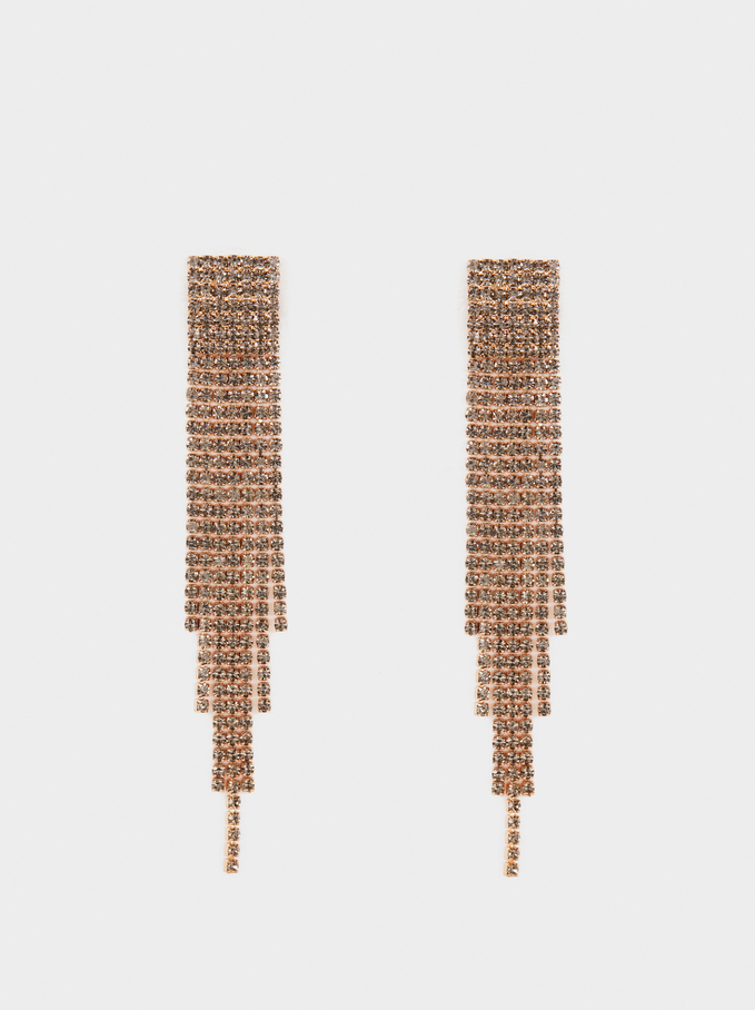 Long Fringe Earrings, Golden, hi-res