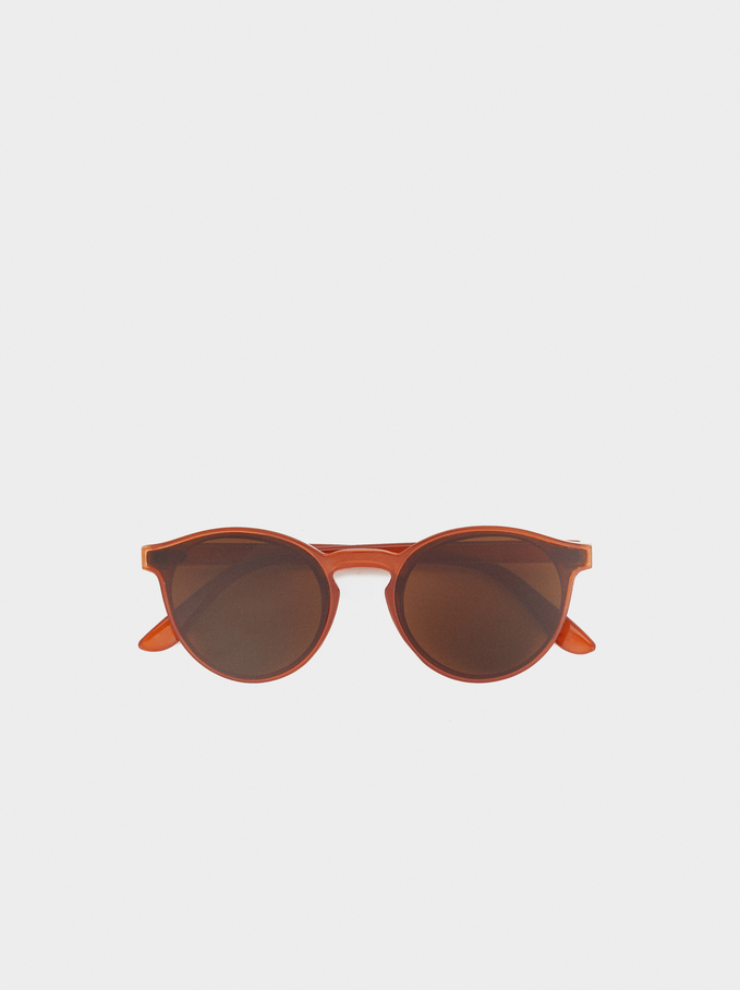 Sunglasses With Round Plastic Frames, Orange, hi-res