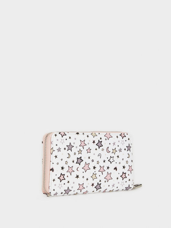 Large Star Print Wallet, White, hi-res