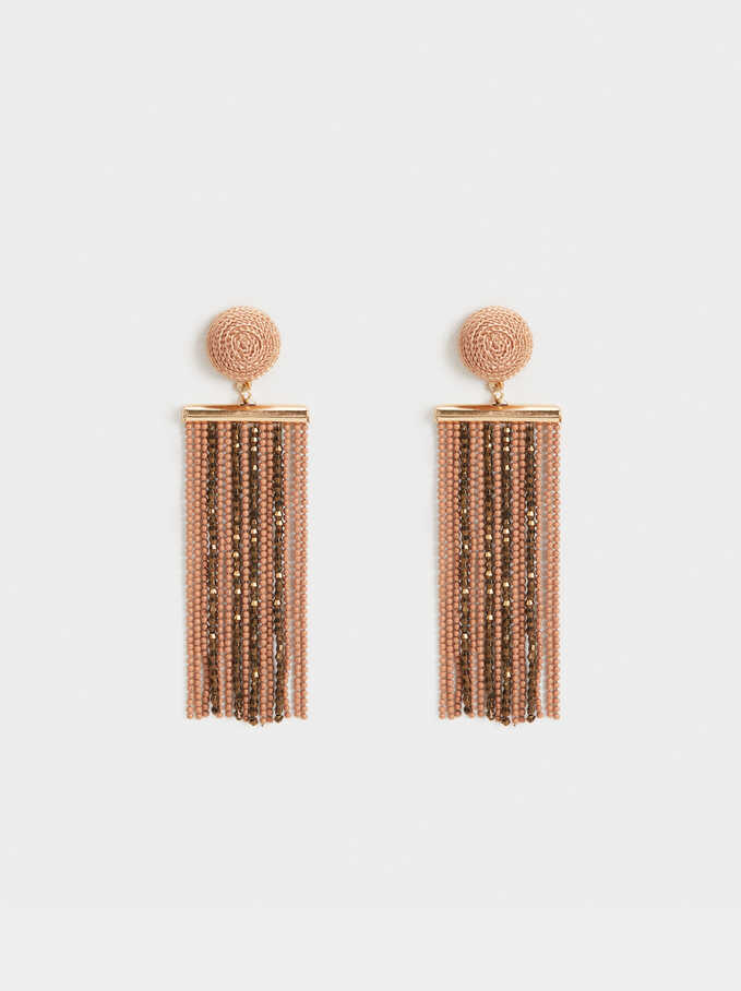 Skin Extra-Long Dangle Earrings With Fringing, Pink, hi-res