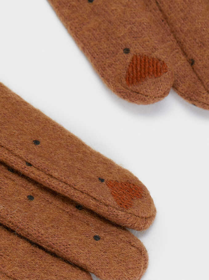 Wool Gloves, Brown, hi-res