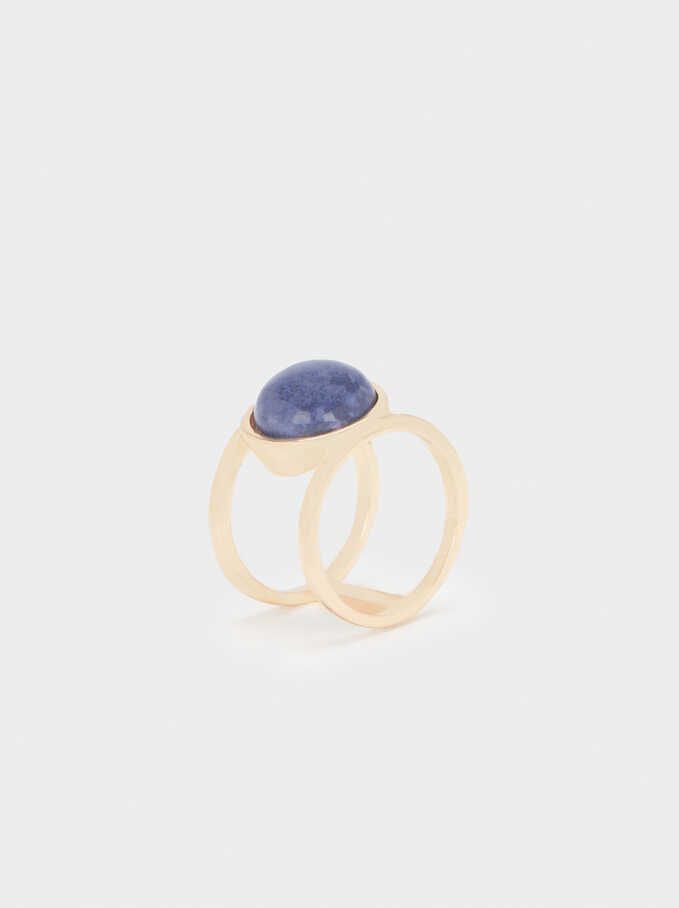 Ring With Multicoloured Stone, Blue, hi-res