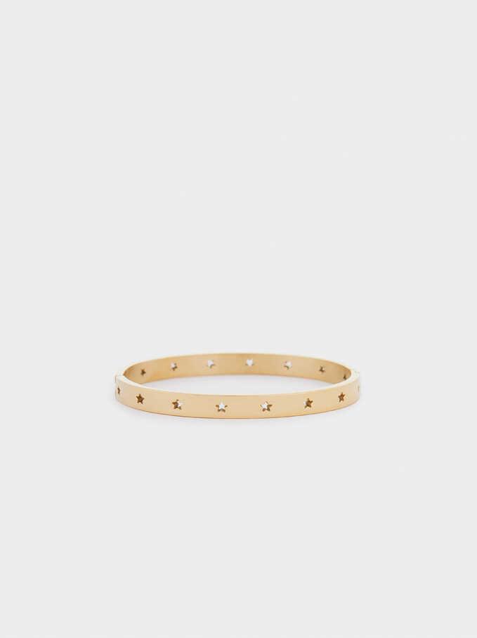 Stainless Steel Bracelet With Stars, Golden, hi-res