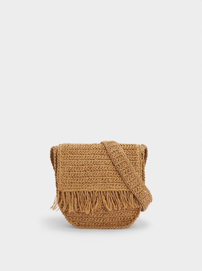 Braided Shoulder Bag With Fringes, Beige, hi-res