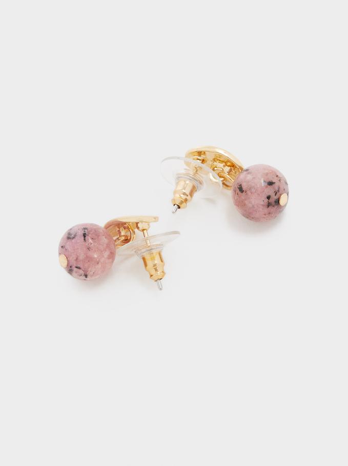 Stone Stud Earrings, Pink, hi-res