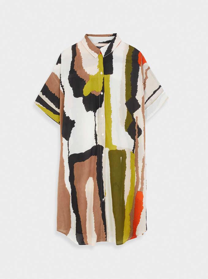 Camisa Oversize Estampada, Beige, hi-res
