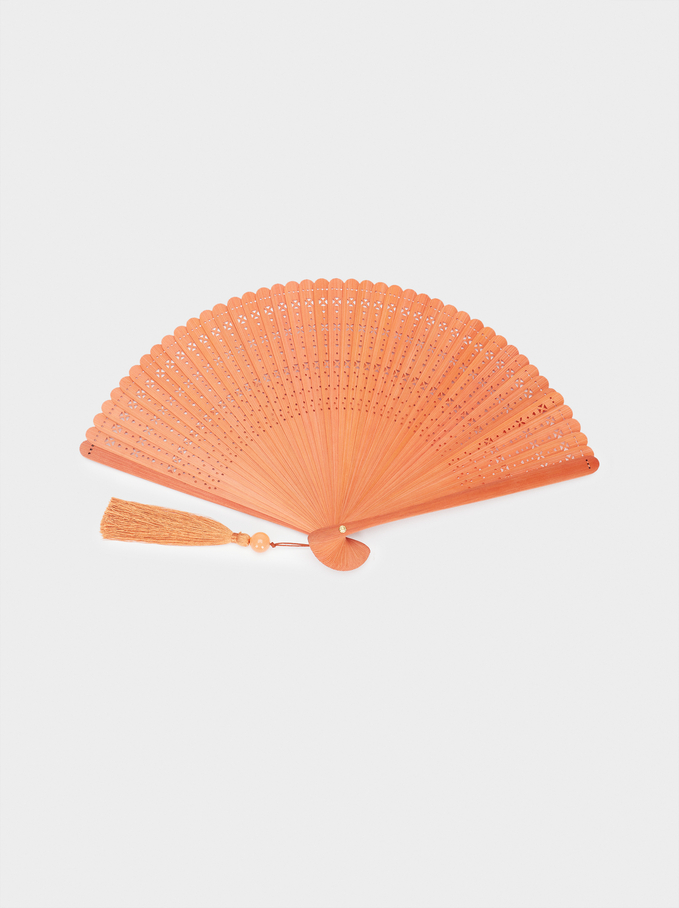 Perforated Fan With Tassel, Pink, hi-res