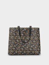 Floral Print Tote Bag, Black, hi-res