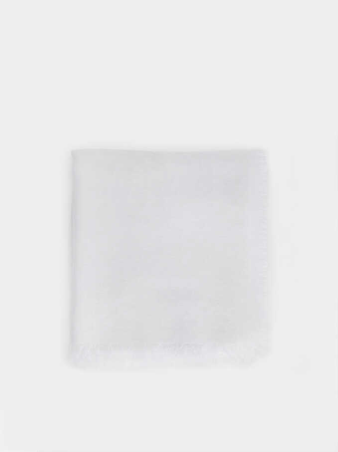 Plain Pashmina, White, hi-res