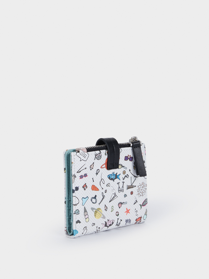 Multi-Coloured Printed Wallet, Black, hi-res