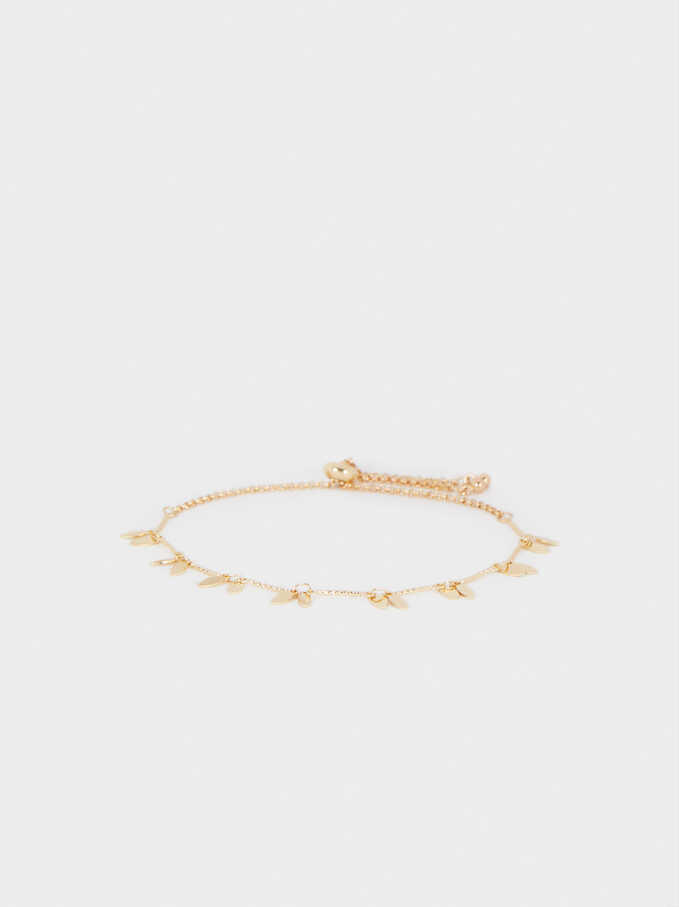 Adjustable Gold Bracelet With Charms, Golden, hi-res