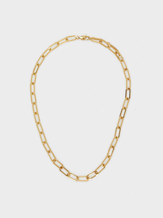 Short Golden Stainless Steel Chain Necklace, , hi-res