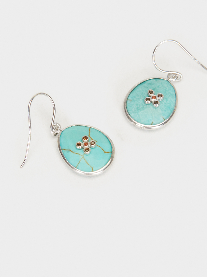 925 Silver Medium Pendant Earrings, Blue, hi-res
