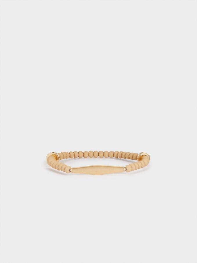 Elasticated Bead Bracelet, Pink, hi-res