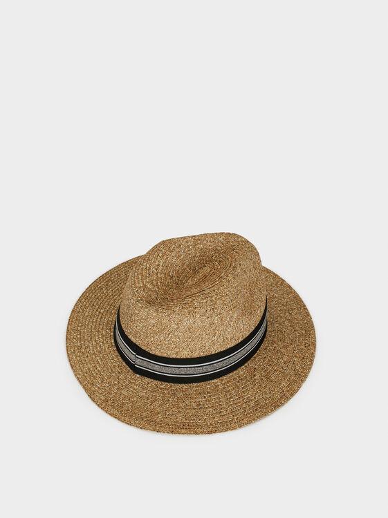 Hat With Contrast Band, Beige, hi-res