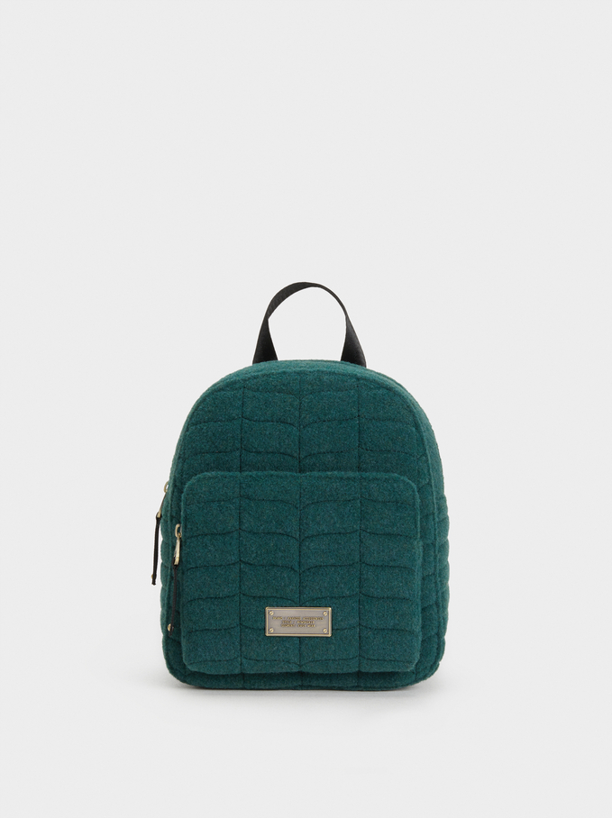 Backpack With Outer Pocket, Green, hi-res