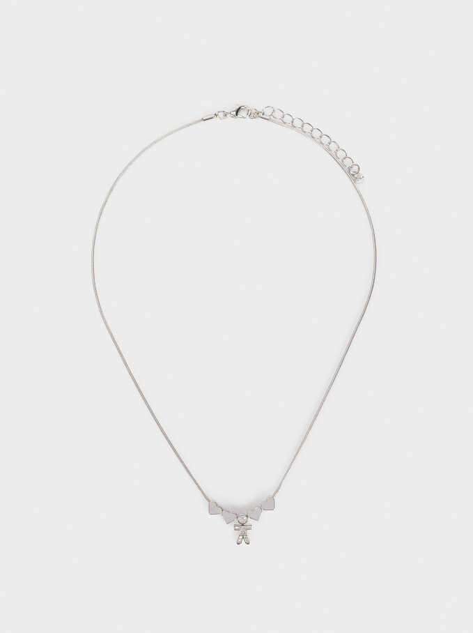Boy'S Short Heart Necklace, Silver, hi-res