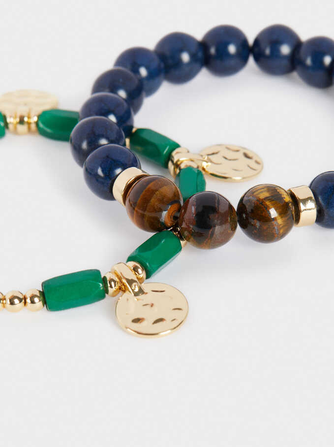 Set Of Elastic Bracelets With Stones, Multicolor, hi-res