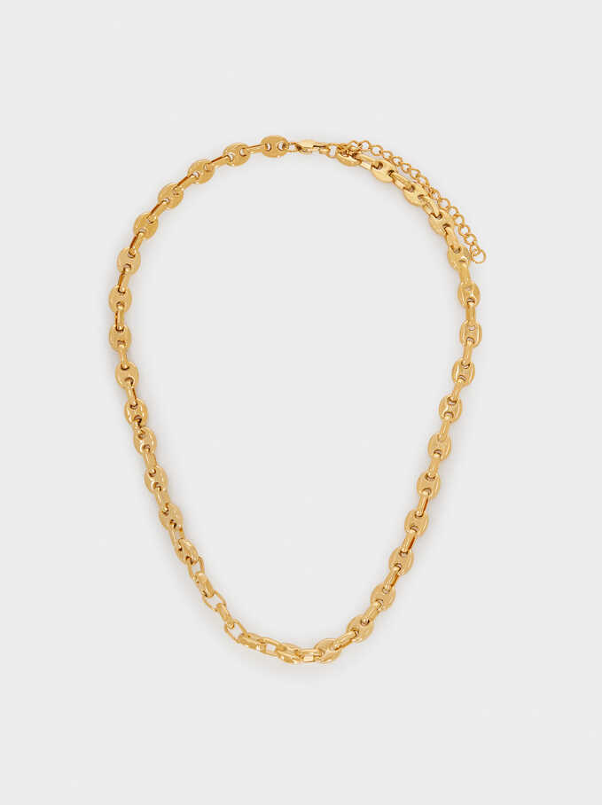 Stainless Steel Chain Necklace, Golden, hi-res