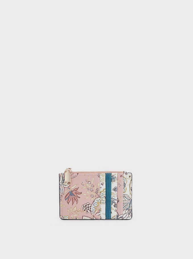 Porta Carte Con Portamonete Stampa Floreale, Rosa, hi-res