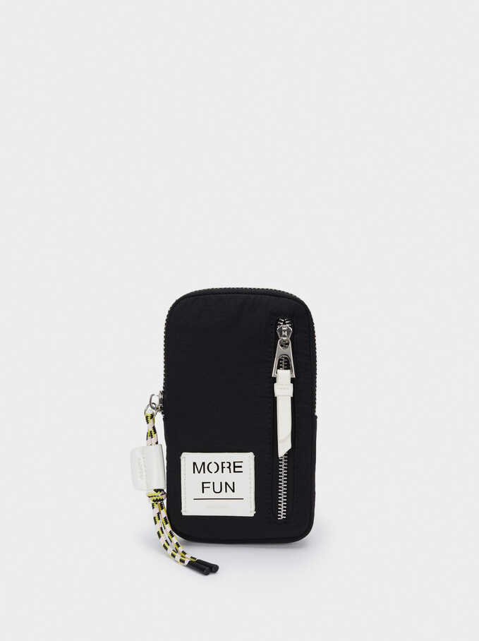 Nylon Mobile Phone Case With Shoulder Strap, Black, hi-res