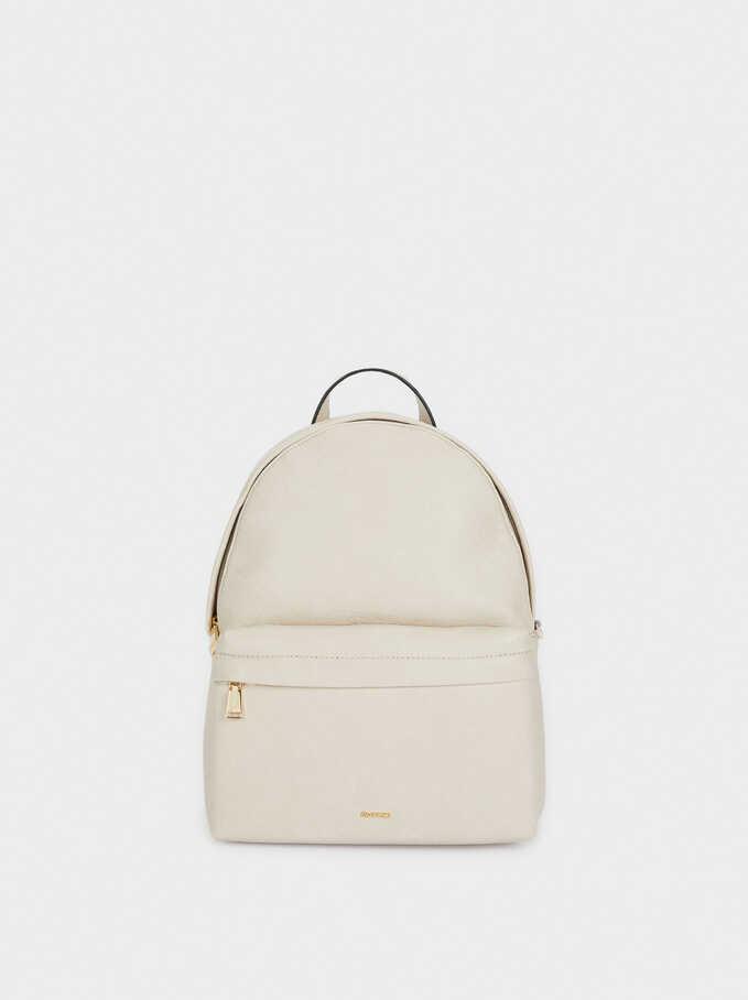 Backpack With Chain Detail Outside Pocket, Ecru, hi-res