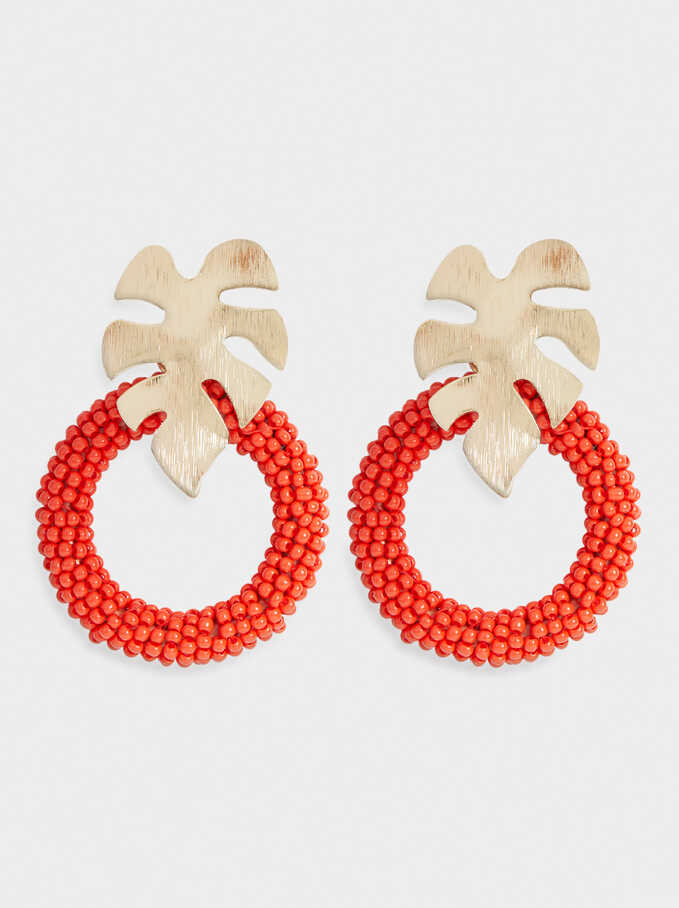 Leaf Earrings With Crystals, Coral, hi-res