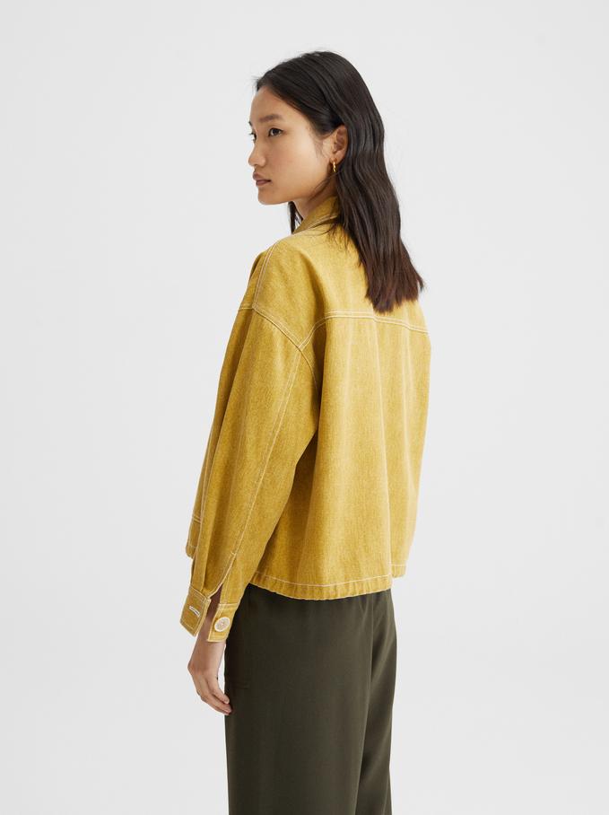 Short Denim Jacket, Yellow, hi-res