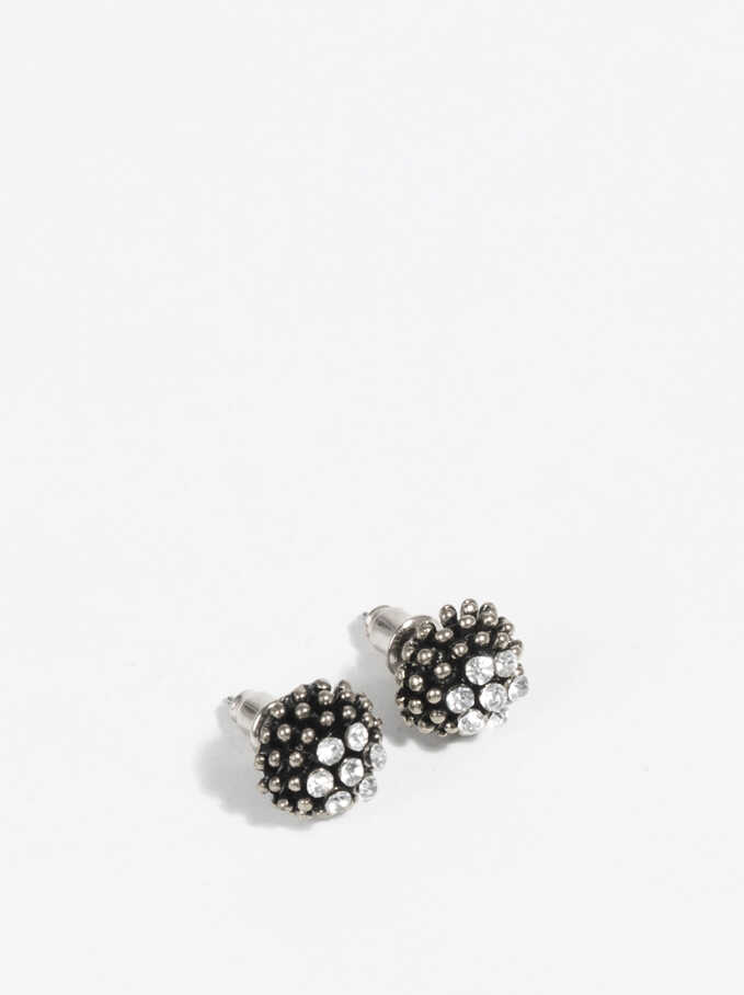 Basic Short Earrings, Silver, hi-res