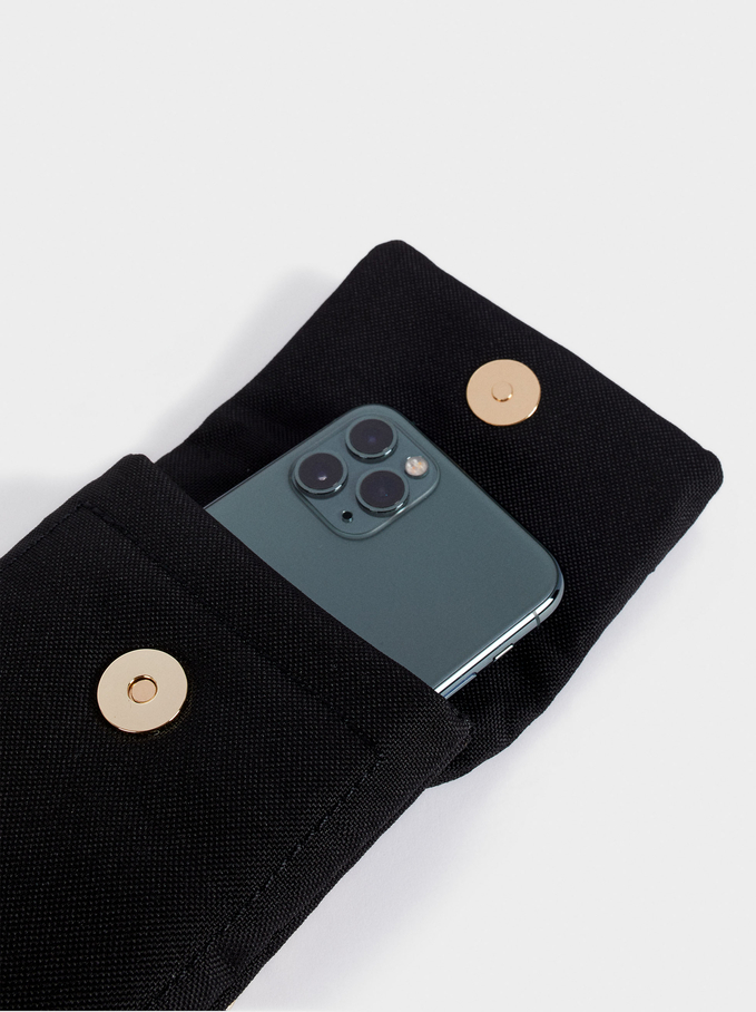 Nylon Mobile Phone Case Made From Recycled Materials, Black, hi-res