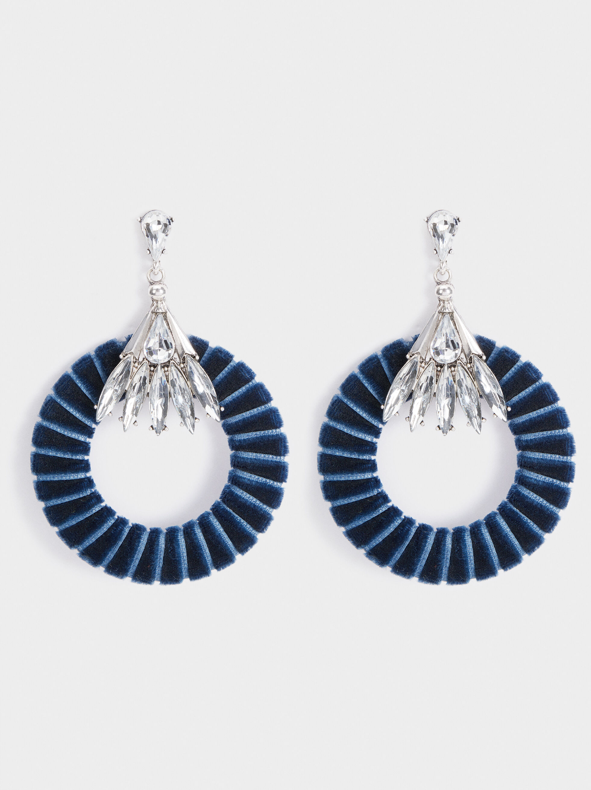 Big Party Earrings, Blue, hi-res