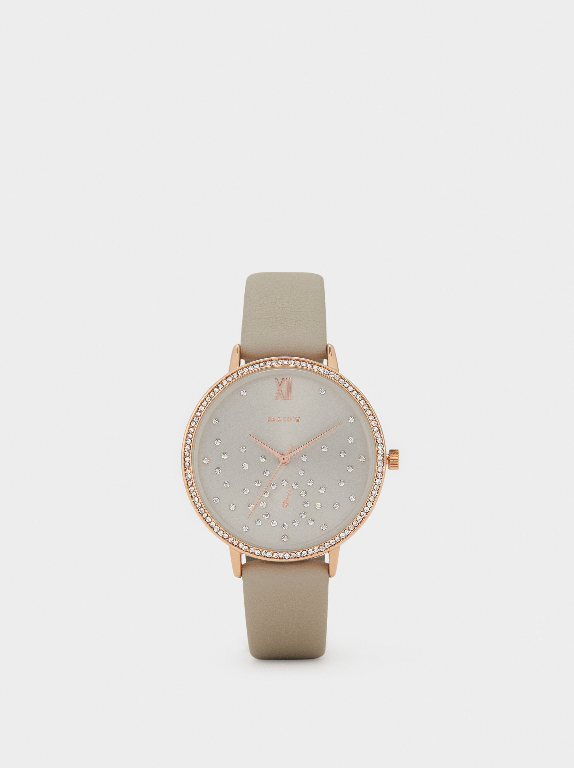 Watch With Rhinestones On The Face, Brown, hi-res