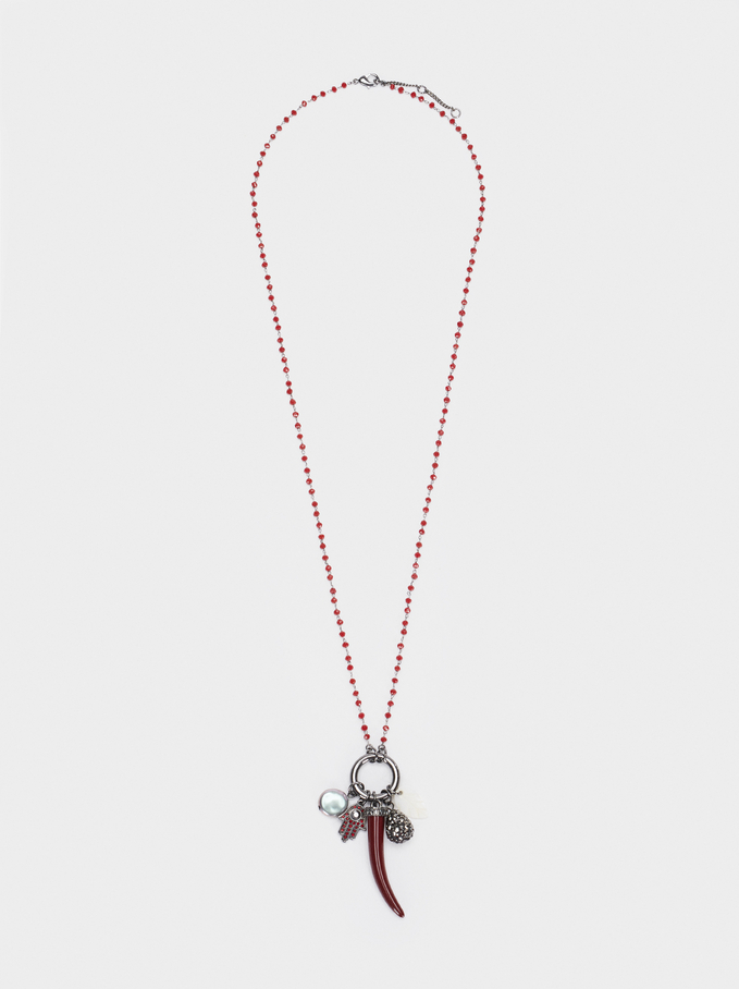 Collier Long Avec Charms Et Strass, Bordeaux, hi-res