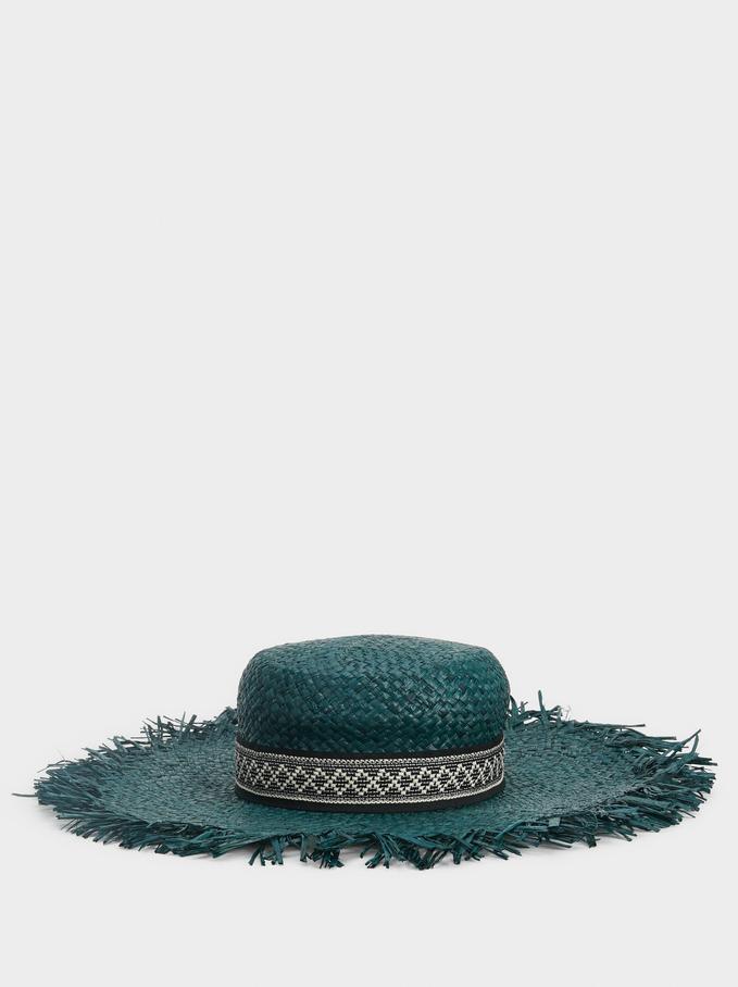 Faux Raffia Hat, Blue, hi-res