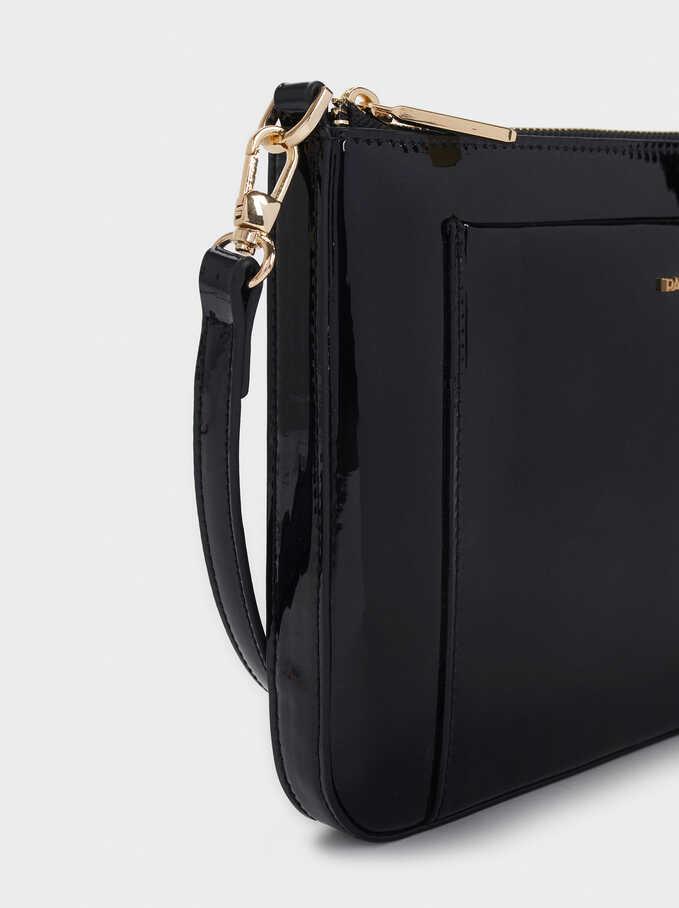 Patent Crossbody Bag, Black, hi-res