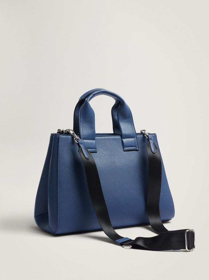 Tote Bag With Detachable Handle, Blue, hi-res