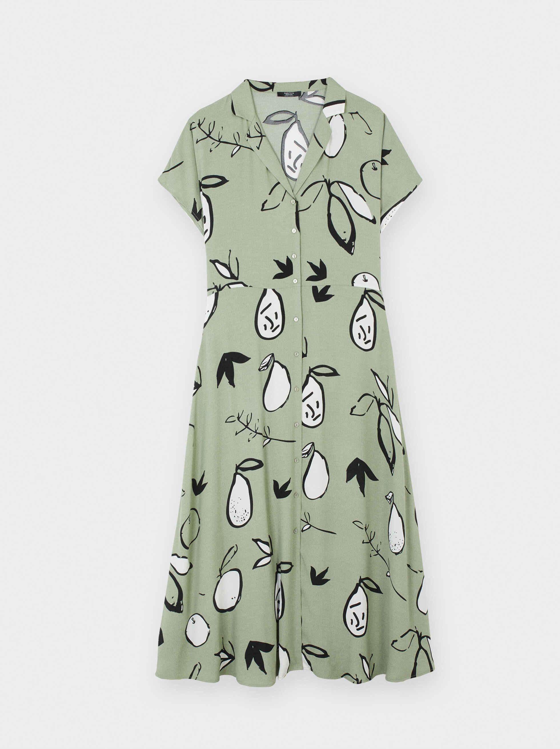 Pear Print Shirt Dress, Grey, hi-res