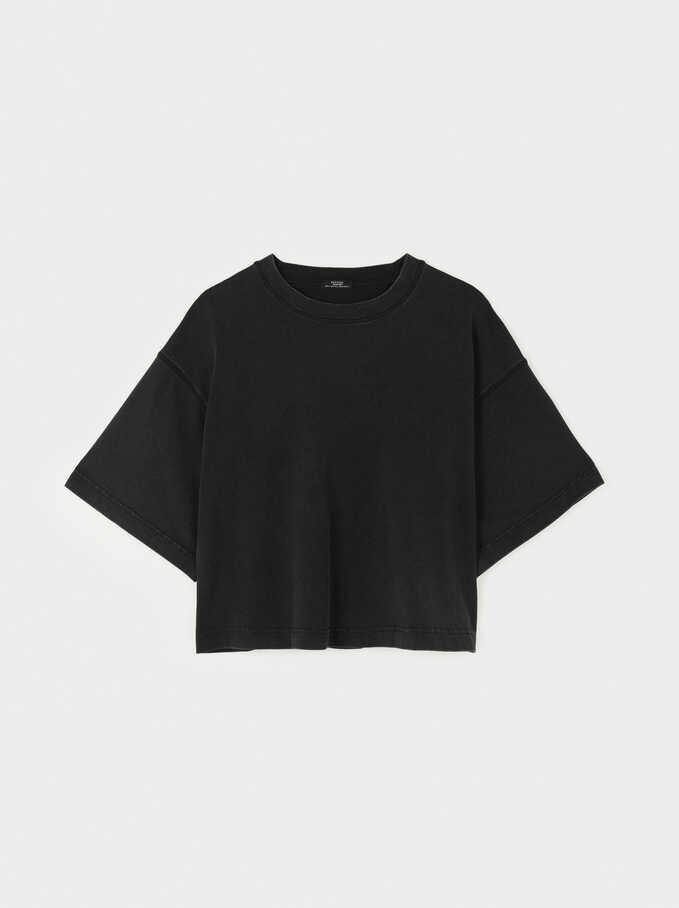 Camiseta Oversize Cuello Redondo, Gris, hi-res