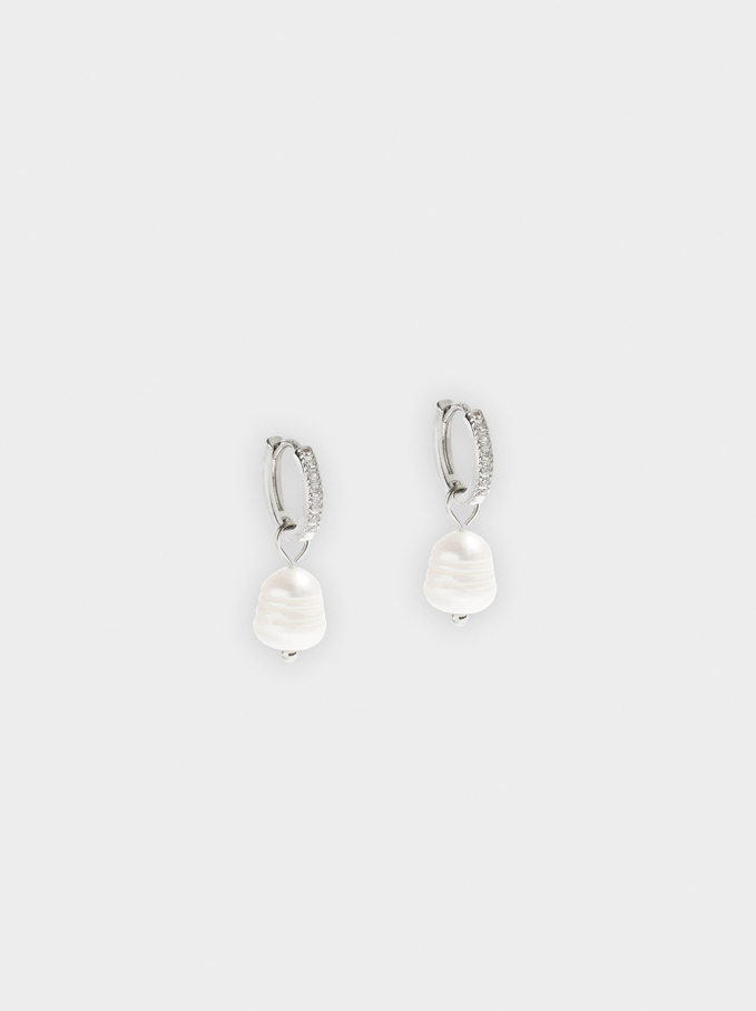 Short Hoops With Pearl And Zirconia, White, hi-res