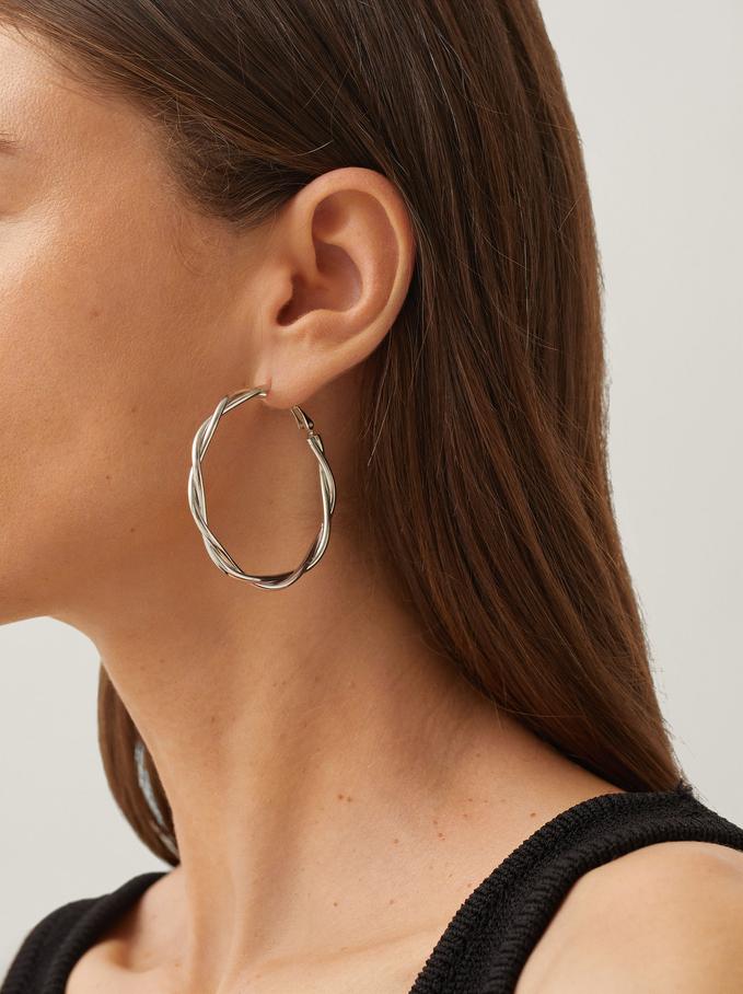 Large Gold Hoop Earrings, Silver, hi-res