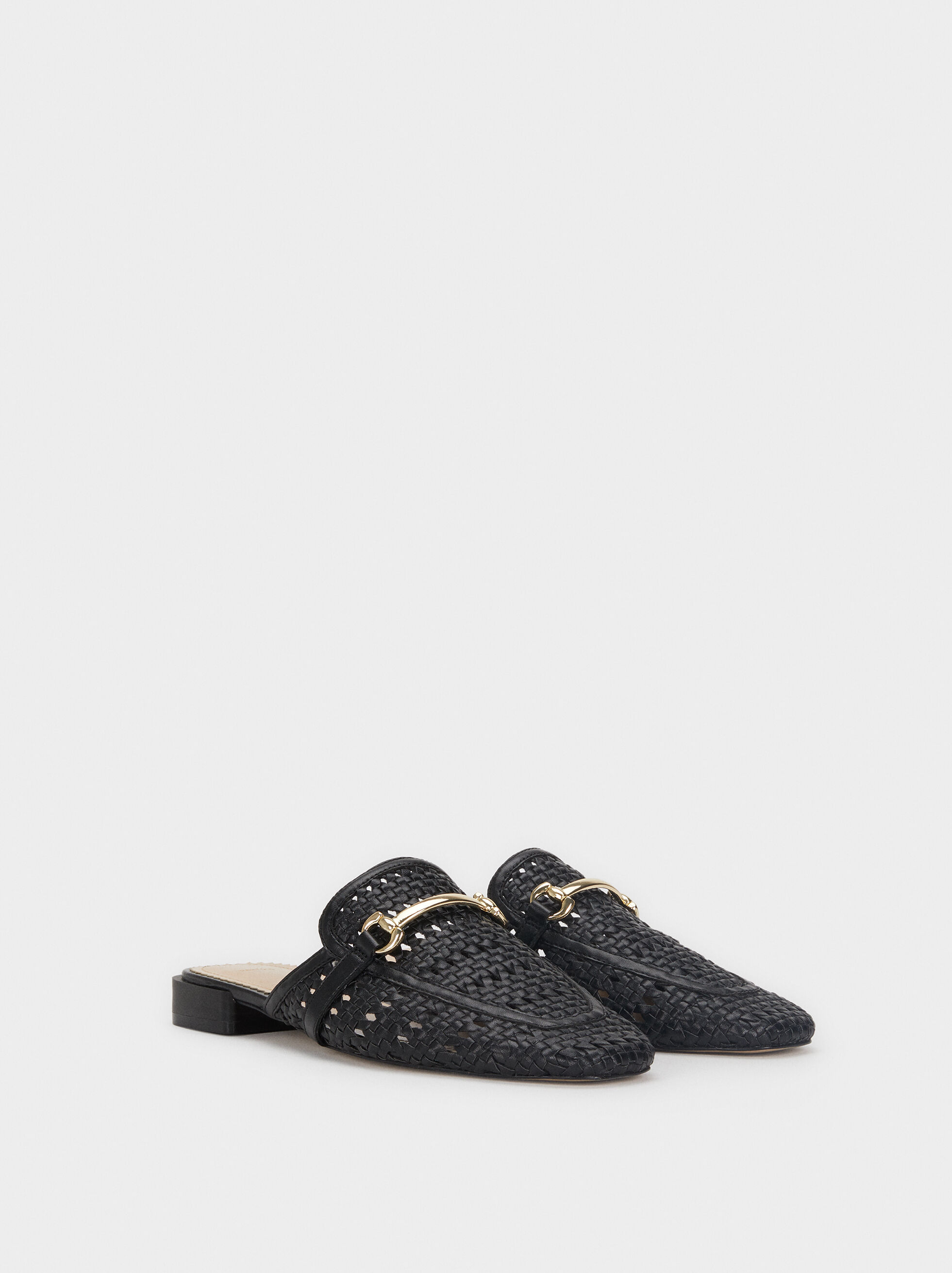 Flat Plaited Mules With Metallic Details, Black, hi-res