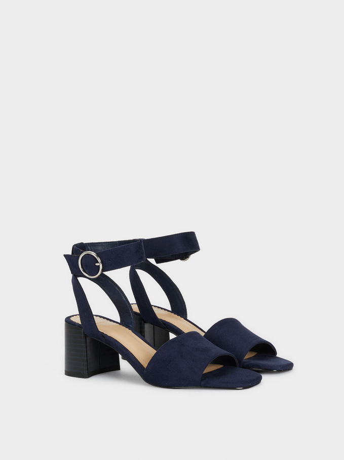 Mid-Heel Sandals With Ankle Strap, Navy, hi-res