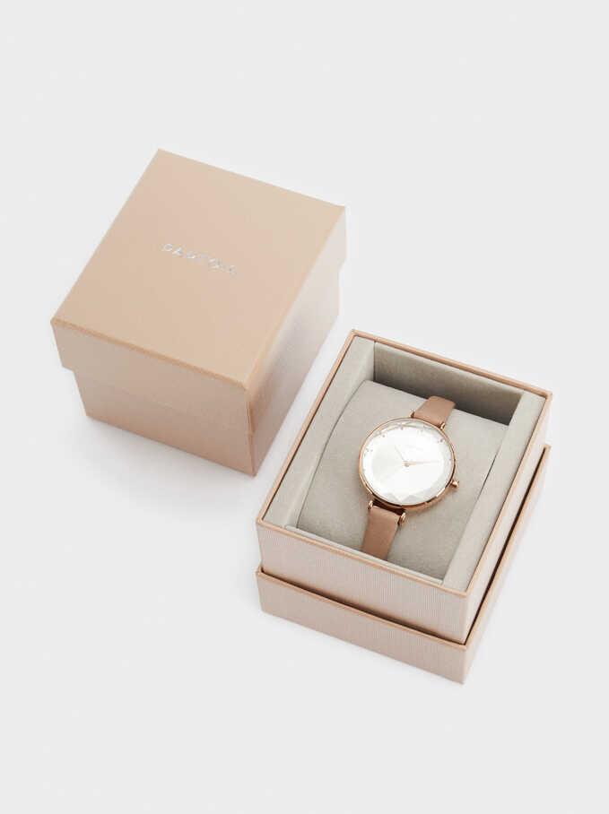 Reloj Metálica Oro Rosa, Beige, hi-res