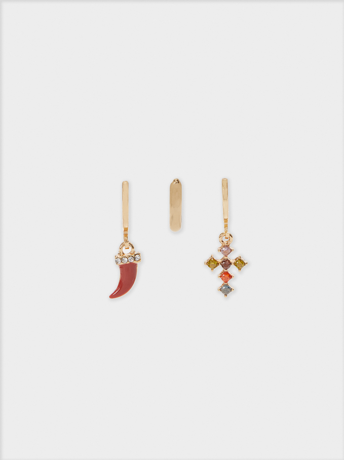 Boucles D'Oreilles Avec Charms Et Strass, Multicolore, hi-res