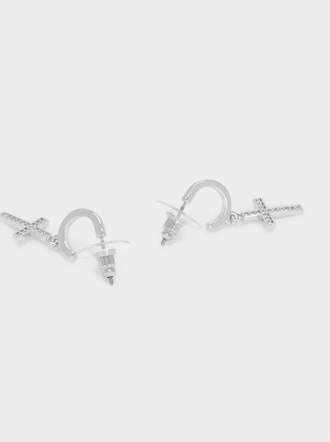 Short Hoops With Cross And Zirconia, Silver, hi-res