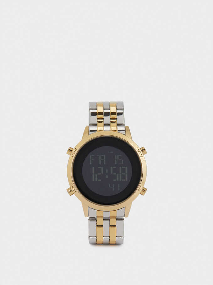 Digital Watch With Steel Wristband, Golden, hi-res