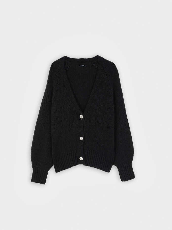 V-Neck Knit Sweater, Black, hi-res